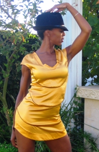 Peppur in Mustard-Choc Dress 1
